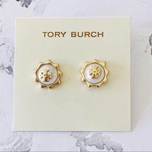 Tory Burch-gold pearl logo earrings